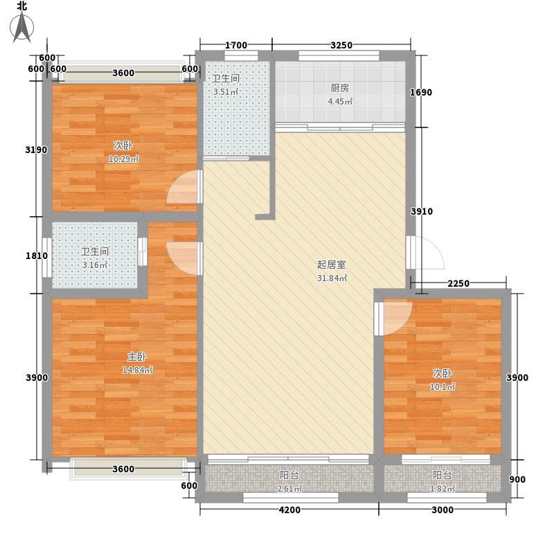 新星宇和韵112.00㎡D3户型3室2厅2卫1厨