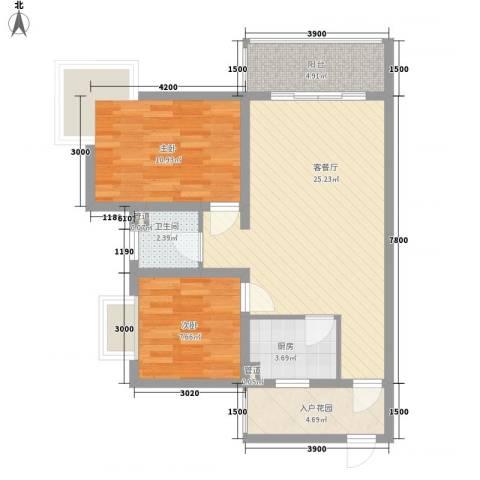 锦绣蓝湾2室1厅1卫1厨86.00㎡户型图