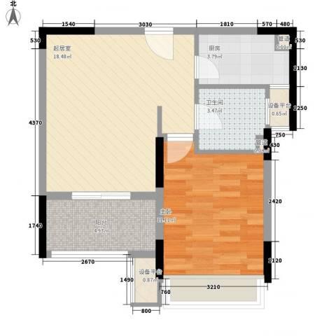 小天鹅品园1室0厅1卫1厨62.00㎡户型图