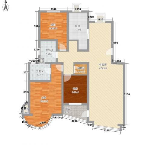 翔宇盛乐新城3室1厅2卫1厨134.00㎡户型图