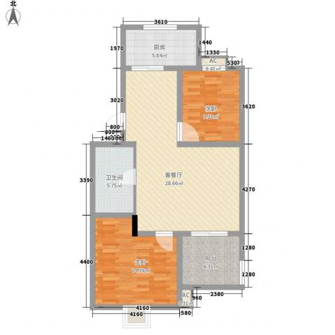 荣德棕榈湾2室1厅1卫1厨102.00㎡户型图