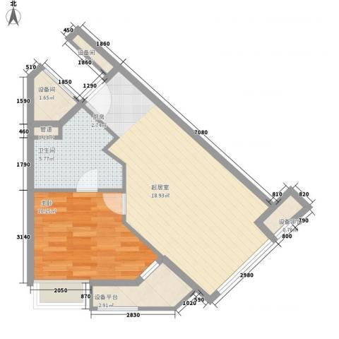 小天鹅品园1室0厅1卫0厨61.00㎡户型图