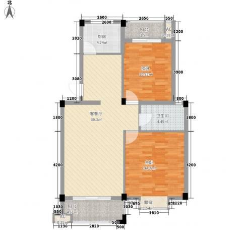 盛祥现代城2室1厅1卫1厨74.06㎡户型图