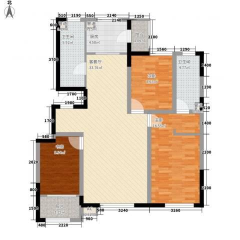 众诚一品东南3室1厅2卫1厨120.00㎡户型图