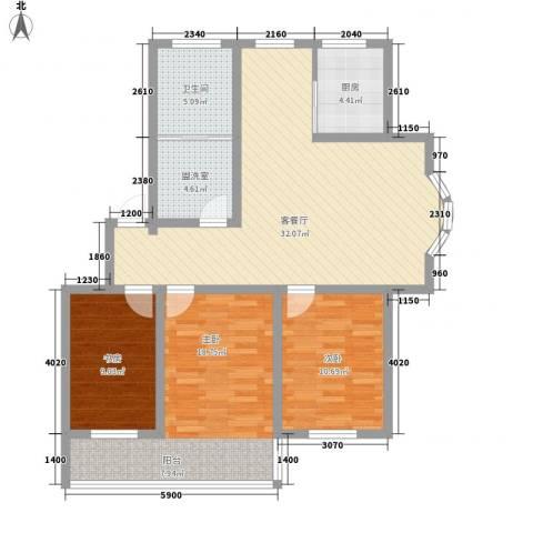 环翠家园3室1厅1卫1厨122.00㎡户型图