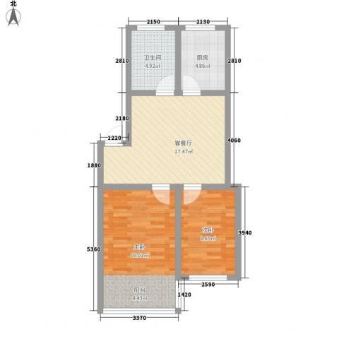 环翠家园2室1厅1卫1厨75.00㎡户型图