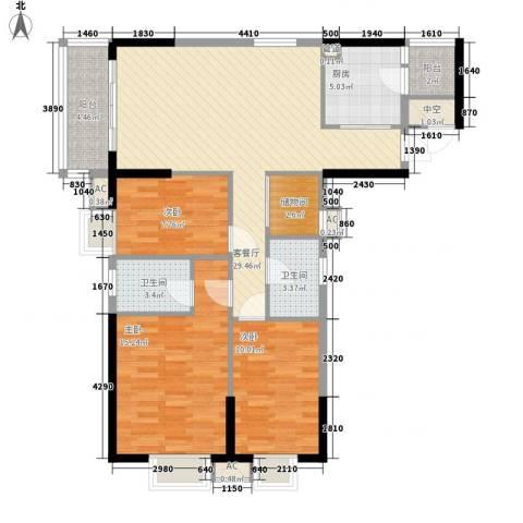 天伦东时区3室1厅2卫1厨122.00㎡户型图