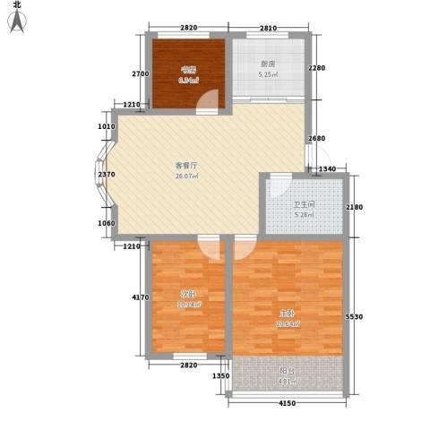 环翠家园3室1厅1卫1厨73.72㎡户型图