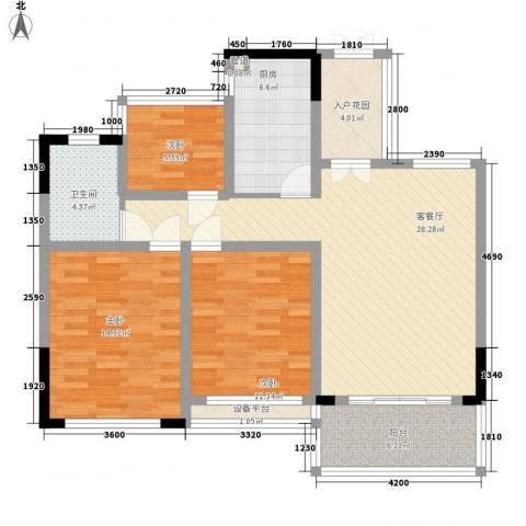 宝兴花园3室1厅1卫1厨101.00㎡户型图