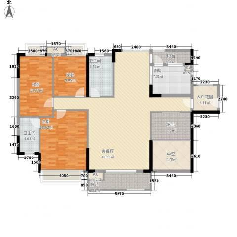 棕榈泉五期3室1厅2卫1厨172.00㎡户型图