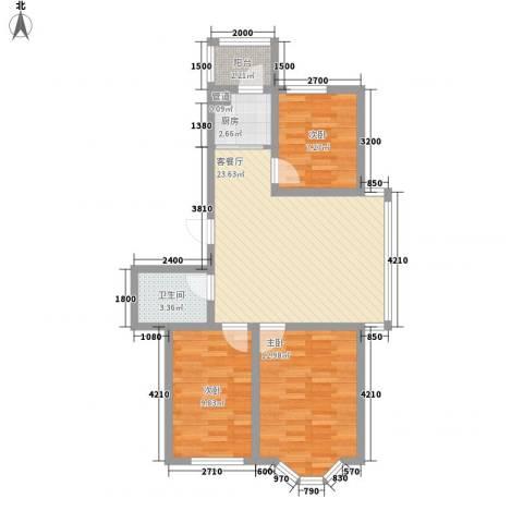 华泰世纪新城3室1厅1卫1厨87.00㎡户型图