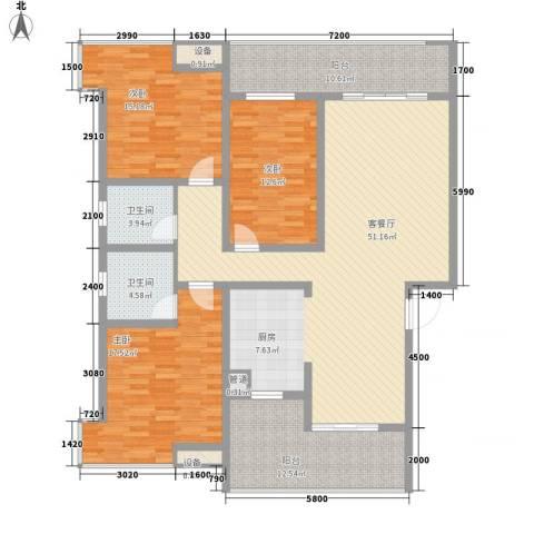 盛世家园3室1厅2卫0厨129.96㎡户型图