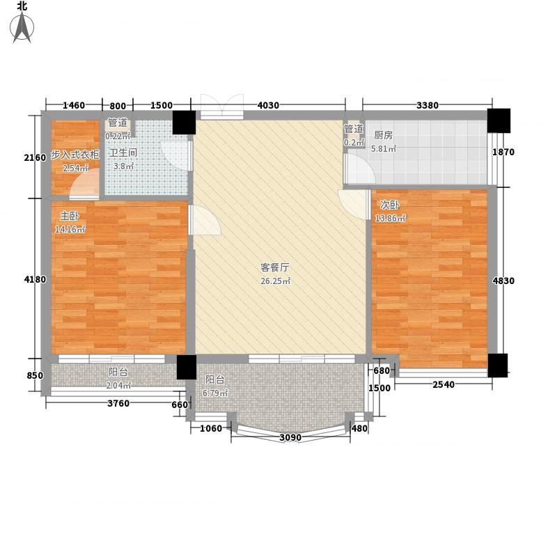 铂金国际公寓107.23㎡G户型2室2厅1卫1厨