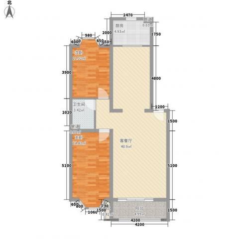 兰溪花园2室1厅1卫1厨114.00㎡户型图