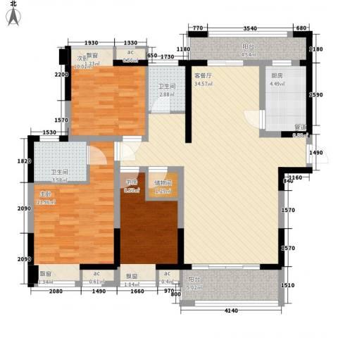 碧城云庭3室1厅2卫1厨127.00㎡户型图