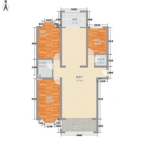 兰溪花园3室1厅2卫0厨134.00㎡户型图