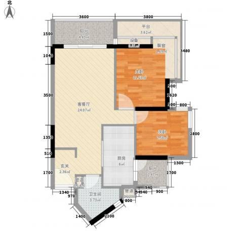 金丰大厦2室1厅1卫1厨83.00㎡户型图