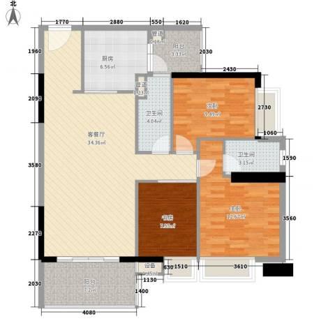 金丰大厦3室1厅2卫1厨127.00㎡户型图