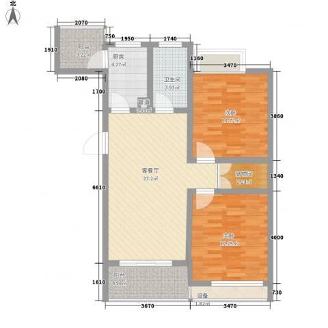 锡梅花园2室1厅1卫1厨99.00㎡户型图