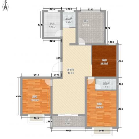 锡梅花园2室1厅2卫1厨140.00㎡户型图
