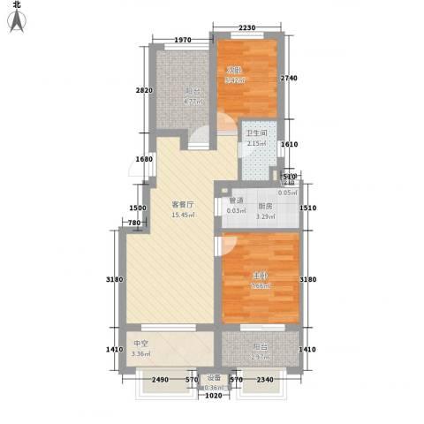 中南家园2室1厅1卫1厨63.00㎡户型图