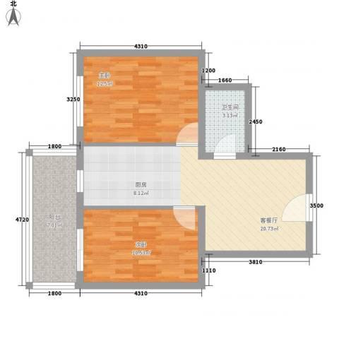 富江家园2室1厅1卫0厨53.90㎡户型图