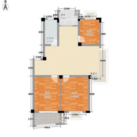 扬子佳竹苑3室1厅1卫1厨118.00㎡户型图