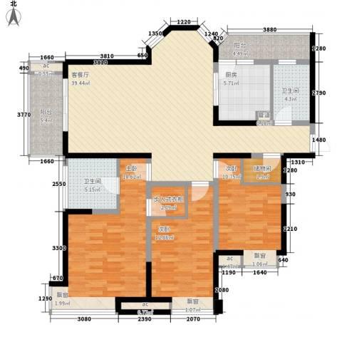 碧城云庭3室1厅2卫1厨139.00㎡户型图