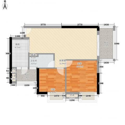 美林海岸花园云河轩2室0厅1卫1厨78.00㎡户型图