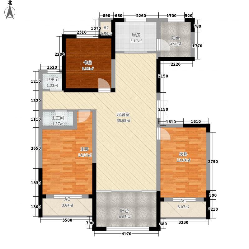 中房粹园132.00㎡C户型3室2厅1卫1厨