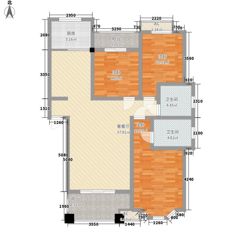 亿豪名园户型图3/5栋户型6  3室2厅2卫1厨
