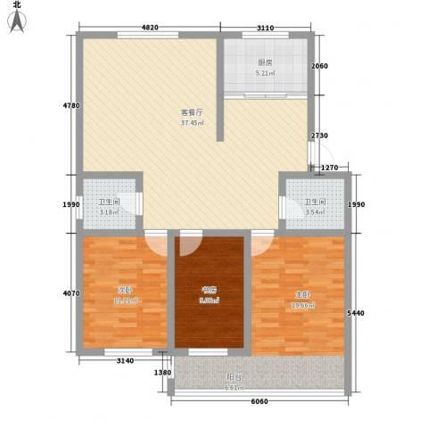 环翠家园3室1厅2卫1厨128.00㎡户型图