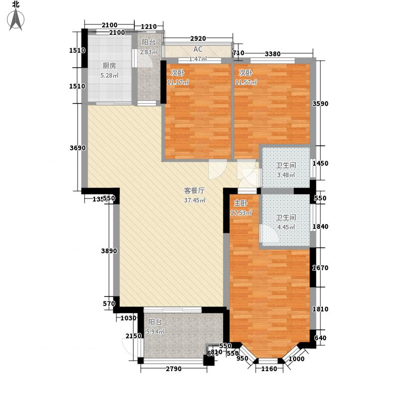 亿豪名园户型图7栋户型4 3室2厅2卫1厨
