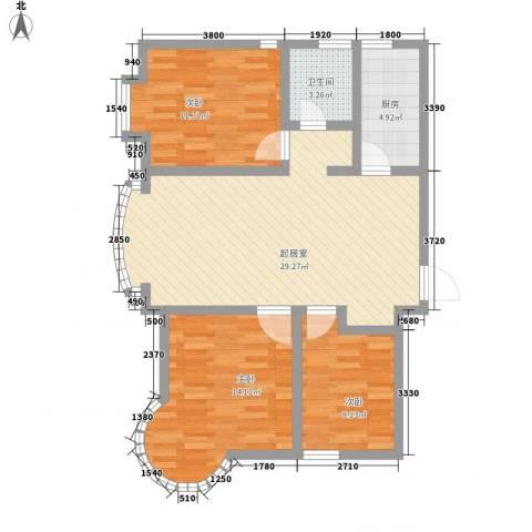 东北明珠3室0厅1卫1厨111.00㎡户型图