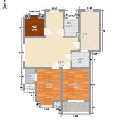 嘉泰・盛世闲庭3室1厅1卫1厨95.00㎡户型图