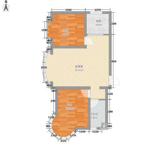 东北明珠2室0厅1卫1厨84.00㎡户型图