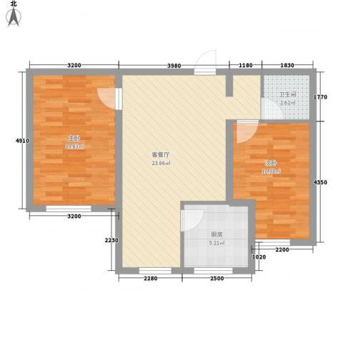 汉森香榭里2室1厅1卫1厨86.00㎡户型图