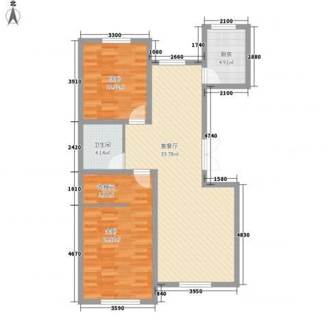汉森香榭里2室1厅1卫1厨110.00㎡户型图