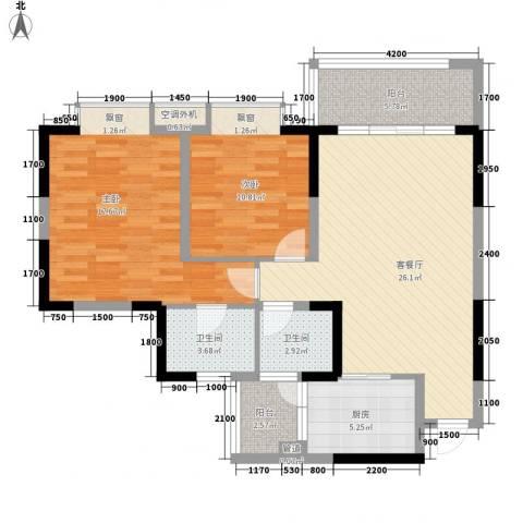 升伟新意境2室1厅2卫1厨77.00㎡户型图