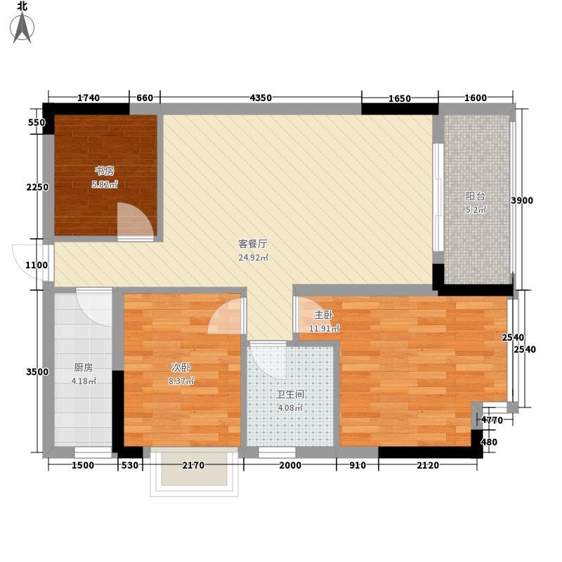 南景湾・山水城78.40㎡5、6、7座B梯06户型2室2厅1卫