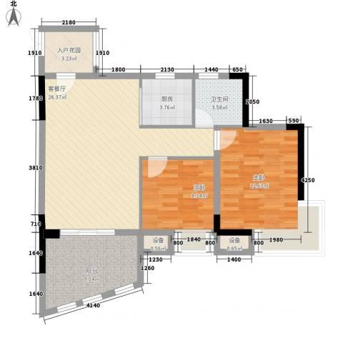 海韵假日休闲公寓2室1厅1卫1厨67.97㎡户型图