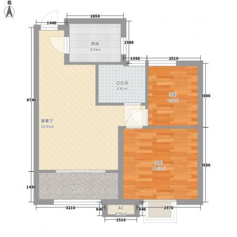 中建新悦城2室1厅1卫1厨72.00㎡户型图