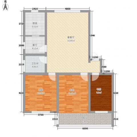环翠家园3室2厅1卫1厨90.03㎡户型图