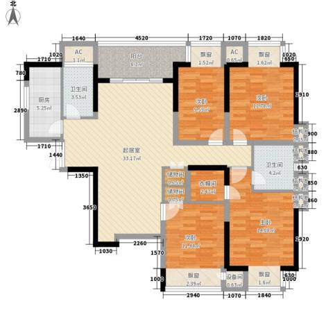 天凤国际大厦4室0厅2卫1厨157.00㎡户型图