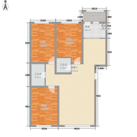 馨园一号3室1厅2卫1厨146.00㎡户型图