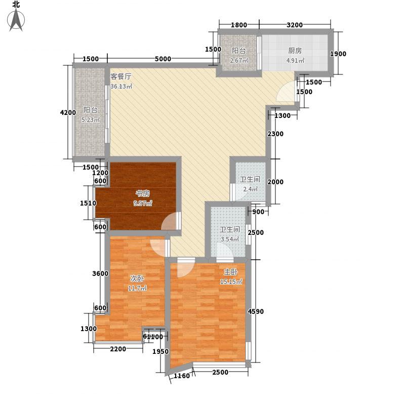 棕榈滩5#A户型3室2厅2卫1厨