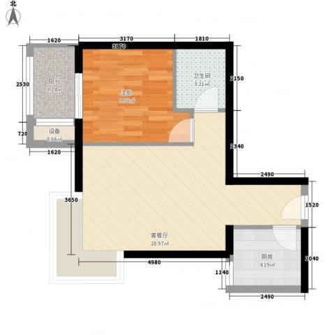 黄金屋1室1厅1卫1厨47.00㎡户型图