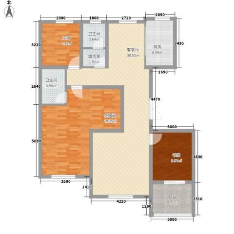 汉森香榭里3室1厅2卫1厨138.00㎡户型图