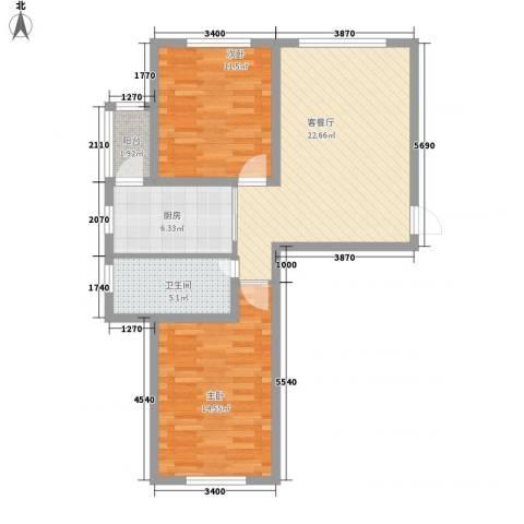 西郡帝景2室1厅1卫1厨82.00㎡户型图