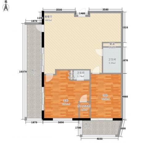 克拉码头2室1厅2卫0厨142.00㎡户型图